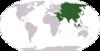 Azja zaznaczona na mapie Ziemi