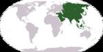 Localisation de l'Asie sur Terre