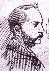 Dessin de la face droite du visage d'un homme portant une fine barbe et une moustache.