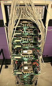 Google's first servers, showing lots of exposed wiring and circuit boards