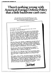 a full-page newspaper advertisement in which Trump placed full-page ads critiquing U.S. defense policy
