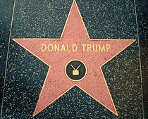 """A red five-pointed star surrounded by a brass bezel set in black sidewalk. The words """"DONALD TRUMP"""", and the symbol of a television with antennae, are set into the star in bronze."""