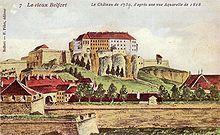 aquarelle représentant le vieux Belfort en 1750