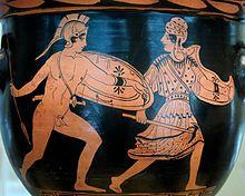Combat d'Achille et de Penthésilée, cratère en cloche lucanien de la fin du Vesiècleav. J.-C., Musée national archéologique de Madrid