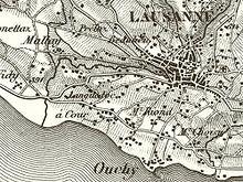zoom sur la partie comprenant Ouchy et Lausanne sur une carte Dufour