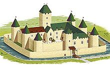 Illustration du château au XIVesiècle