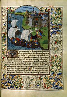 Illustration d'un manuscrit médiéval, Recueil des Histoires de Troie