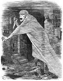 Dessin d'un fantôme brandissant un poignard et flottant au-dessus d'une rue délabrée pendant la nuit. Sur son front apparaît «CRIME».