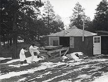 Une cabane entourée par des pins. Il y a de la neige sur le sol. Un homme et une femme en blouses blanches de laboratoire tirent sur une corde reliée à un petit chariot sur une plateforme en bois. Un large objet cylindrique est situé sur le chariot.