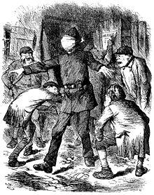 Dessin montrant un policier yeux bandés et bras étirés qui recherche des hommes près de lui.