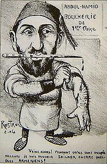 Un homme portant un fez et des babouches, un poignard sanglant à la bouche, se retrousse les manches. Derrière lui, un écriteau annonce «Abdul-Hamid - Boucherie de 1reclasse». Il dit: «Veine alors! Pendant qu'ils sont occupés ailleurs je vais pouvoir saigner encore quelques Arméniens!».