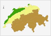 carte de la suisse montrant la division du territoire en trois régions géologiques, ces régions se répartissent en trois bandes parallèles et orientées du sud-ouest au nord-est