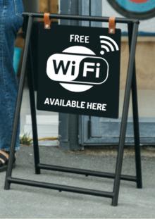 Wifi logo on a sidewalk Sign
