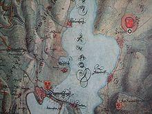 reproduction d'une carte ancienne montrant la partie centrale du lac de Zurich
