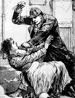Un homme bien vêtu à la britannique s'apprête à poignarder une femme pauvrement vêtue.
