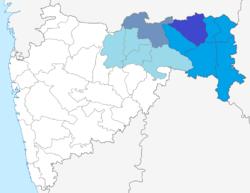 Dark Blue: Nagpur District, Blue: Nagpur Region, Grey: Amravati District Light, Light Blue: Amravati Region