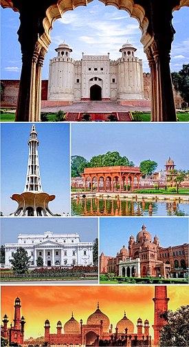 Clockwise from the top: Lahore Fort, Shalimar Gardens, Lahore Museum, Badshahi Mosque, Quaid-e-Azam Library, Minar-e-Pakistan.