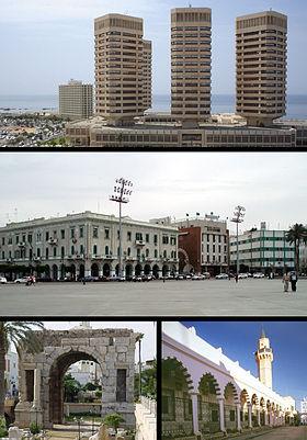 Haut: Tours That El Emad. Milieu: Place des Martyrs. Bas gauche: Arc de Marc Aurèle. Bas droite: Médina de Tripoli.