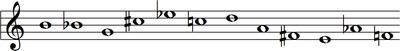 B, B♭, G, C♯, E♭, C, D, A, F♯, E, A♭, F