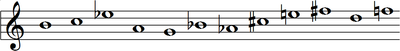 B, C, E♭, A, G, B♭, A♭, C♯, E, F♯, D, F
