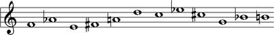F, A♭, E, F♯, A, D, C, E♭, C♯, G, B♭, B
