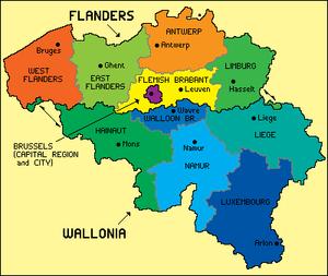 Mappa del Belgio con Regioni e Province